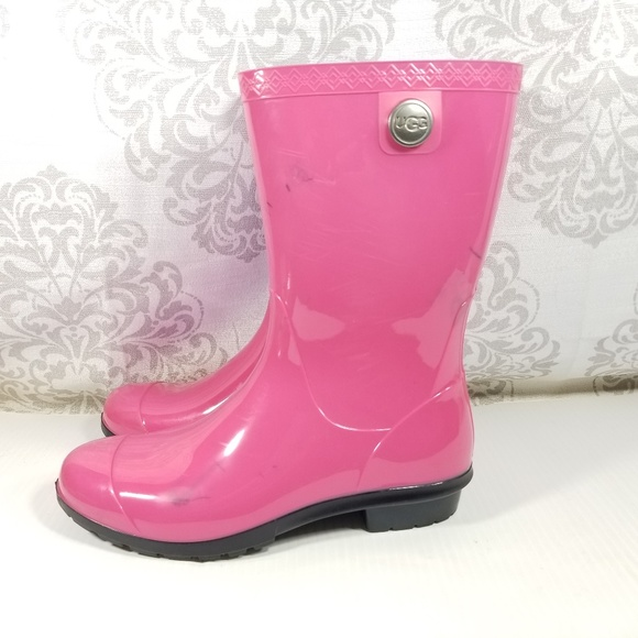 details for classic styles on feet at Ugg Womens Pink Rubber Rain Boots USA Glossy